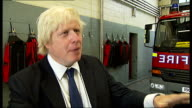 Riots Boris Johnson visits fire station in Stoke Newington Boris Johnson interview SOT On Chelsea Ives whether she was an Olympic ambassador she had...