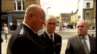 Riots Boris Johnson visits fire station in Stoke Newington ENGLAND London Stoke Newington EXT Boris Johnson MP arriving and shaking hands with...