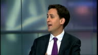political debate over causes and response ENGLAND London GIR INT Ed Miliband MP LIVE STUDIO interview SOT Thankfully five days after I first called...