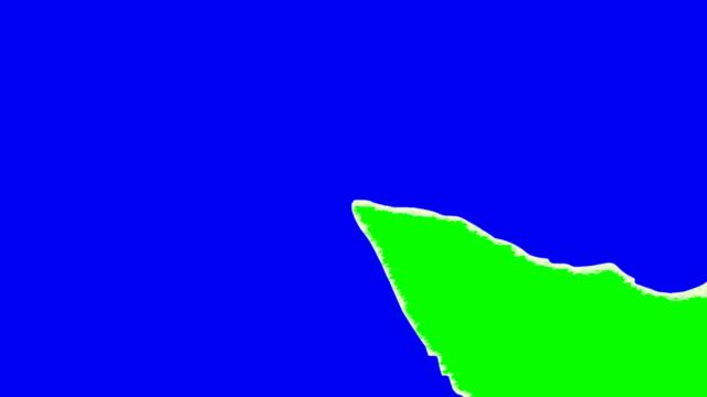 Reißen Tapete zeigen mit Grün und Blau Bildschirm