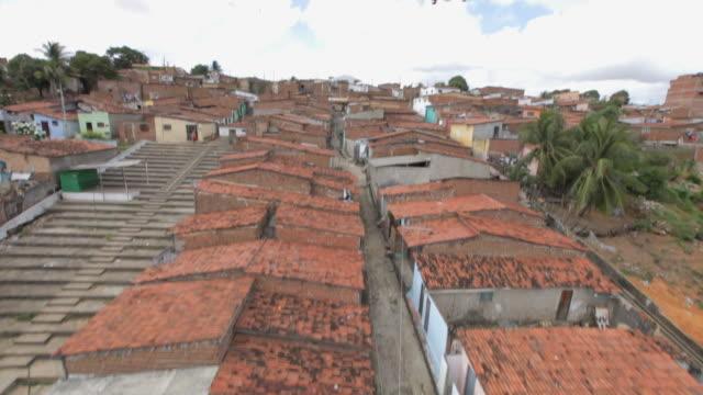 Rising aerial shot revealing Brazillian favela