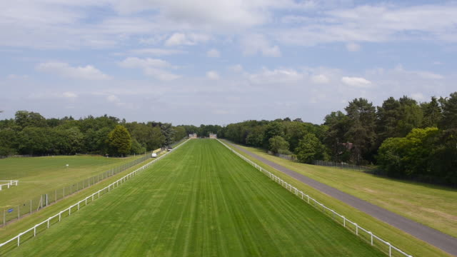 Rising aerial view of the start line and straight mile at Ascot Racecourse Captured by a licensed UAV operator with PFAW