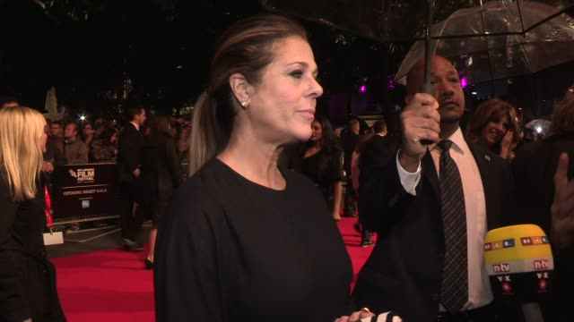 INTERVIEW Rita Wilson on Tom Hanks's health at Opening Ceremony 'Captain Phillips' Red Carpet at Odeon Leicester Square on October 9 2013 in London...