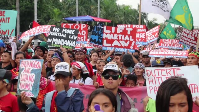 Rival rallies take place in Manila by the supporters and critics of Philippine President Rodrigo Duterte over his deadly drug war and martiallaw...