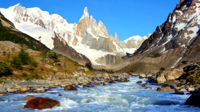 River below mountain peaks of Cerro Torre, Patagonia, Argentina