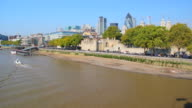 River cruise boat and City of London skyline.