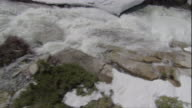 A river flows fast between rocks and snow. Available in HD.