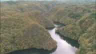 A river flows through the Taishaku Gorge on an autumn day. Aerial Shot