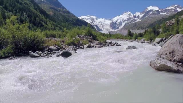river in front of Morteratsch glacier