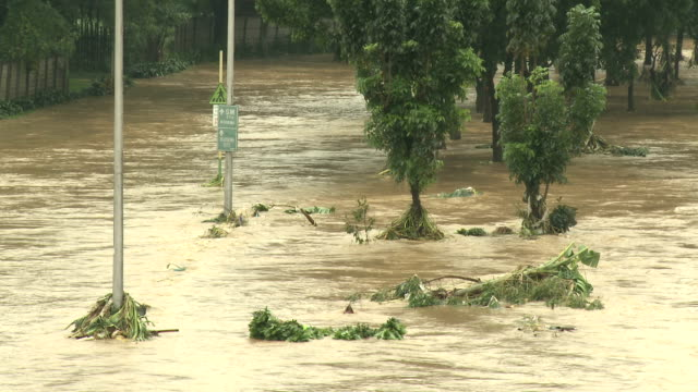 River In Full Flood After Monsoon Rains Manila