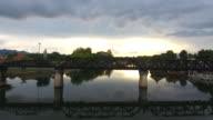 River Kwai Bridge during sunset