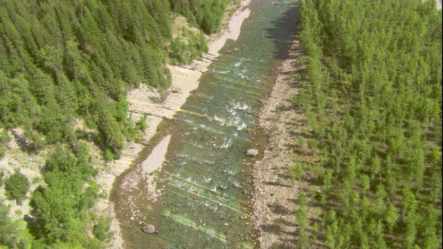A river meanders through Glacier National Park in Montana. Available in HD.