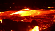 River of lava 14 Night Glowing Hot flow from Kilauea Active Volcano Puu Oo Vent Active Volcano Magma