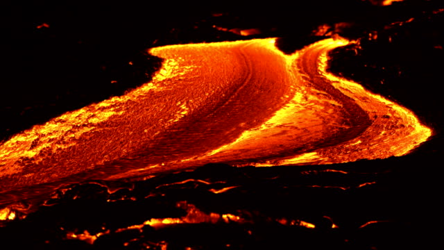 River of lava 2 Night Glowing Hot flow from Kilauea Active Volcano Puu Oo Vent Active Volcano Magma