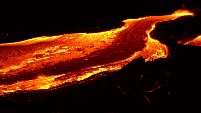 River of lava 3 Night Glowing Hot flow from Kilauea Active Volcano Puu Oo Vent Active Volcano Magma