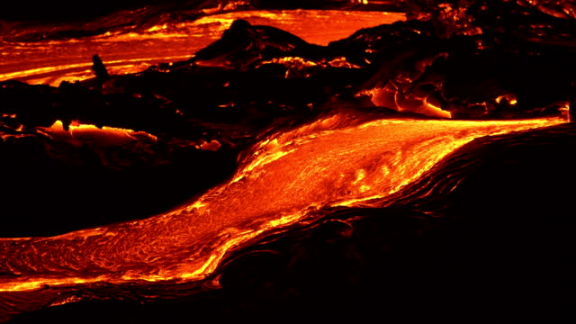River of lava 5 Night Glowing Hot flow from Kilauea Active Volcano Puu Oo Vent Active Volcano Magma