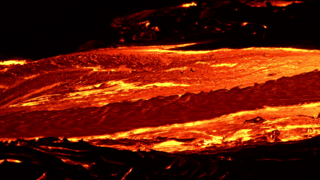 River of lava 6 Night Glowing Hot flow from Kilauea Active Volcano Puu Oo Vent Active Volcano Magma