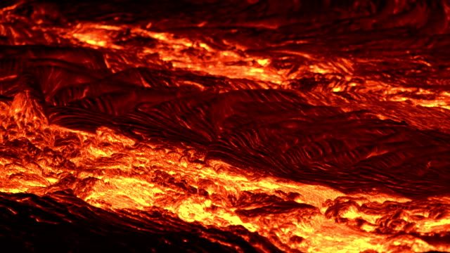 River of lava 7 close Night Glowing Hot flow from Kilauea Active Volcano Puu Oo Vent Active Volcano Magma