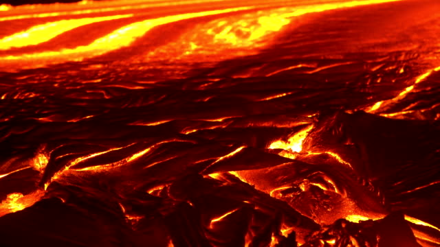 River of lava 9 Night Glowing Hot flow from Kilauea Active Volcano Puu Oo Vent Active Volcano Magma