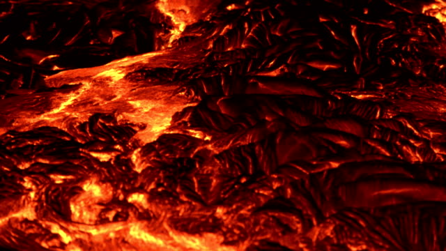 River of lava texture Night Glowing Hot flow from Kilauea Active Volcano Puu Oo Vent Active Volcano Magma