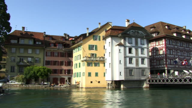 MS, PAN, River Reuss and row of houses, Lucerne, Switzerland