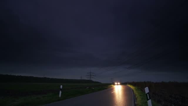 CRANE UP: Road at night