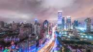 road cityscape and skyline of shanghai. timelapse 4k