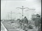 Road construction building tramway line streetcar railway / Moscow Russia