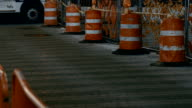 Road construction. Traffic cones on pavement