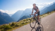 Road cycling on a mountain pass