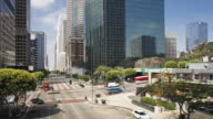 Road junction Figueroa at Wiltshire, Downtown Los Angeles, California, United States of America, Time-lapse