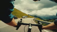 POV road racing bicycle on a mountain road: the Sella Pass
