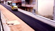 Road roller on a new asphalt