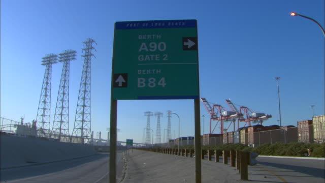 MS, Road sign at port of Long Beach, Terminal Island, Los Angeles County, California, USA
