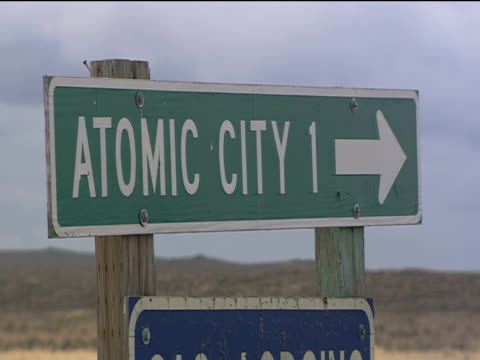 Road sign for 'Atomic City'