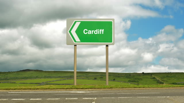 Road sign to Cardiff.
