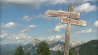 Road signposts in the mountains