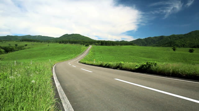 Road to the mountain.(Car passing)