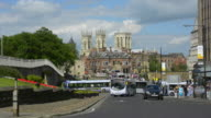 Roads, city wall and York Minster.