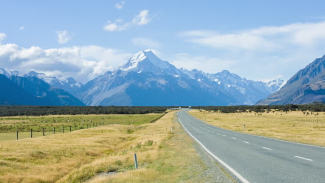 Roads with beautiful Scenics and overlooking Mt. Cook ,New Zealand