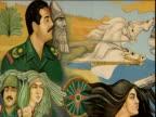 Roadside mural depicting Saddam Hussein next to Sumerian leader Nberkemeza surrounded by Iraqi soldiers and civilians Iraq