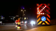 Roadworks at night