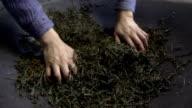 Roasts tea leaves