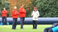 Rob Andrew and Martin Johnson interviews EXT Martin Johnson training with players ** Andrew interview overlaid SOT**