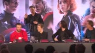 INTERVIEW Robert Downey Jr changing his wardrobe 15minutes in at 'Avengers The Age of Ultron' Press Conference at Corinthia Hotel London on April 21...