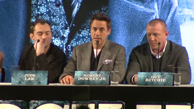 Robert Downey JR on the film being a fresh take on Sherlock Holmes whilst still be faithful to the original stories of Holmes at the Sherlock Holmes...