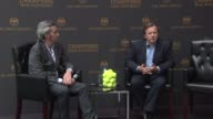 Robert FurnissRoe talks about the 'Champions Drink Responsibly' campaign and its new ambassador Nadal Adrian Atkinson listens at the Bacardi Limited...