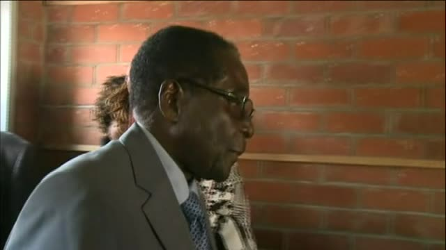 Robert Mugabe goes to polling station