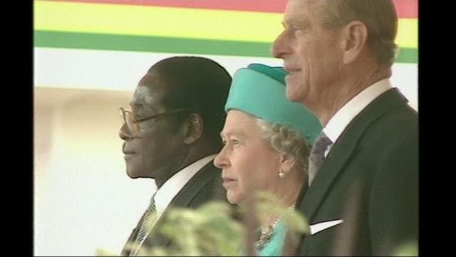 Mugabe profile LIB ENGLAND London Robert Mugabe with Queen Elizabeth II and Prince Philip