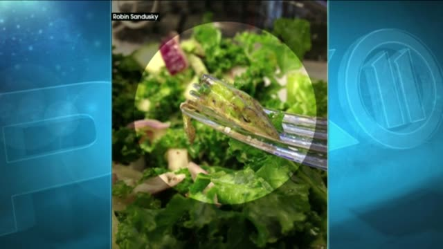 Robin Sandusky said she originally thought what was on her fork was a piece of asparagus in her kale salad from Guy Gallard in Chelsea Tuesday